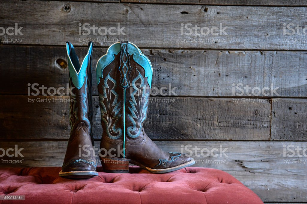 ladies cowgirl boots stock photo