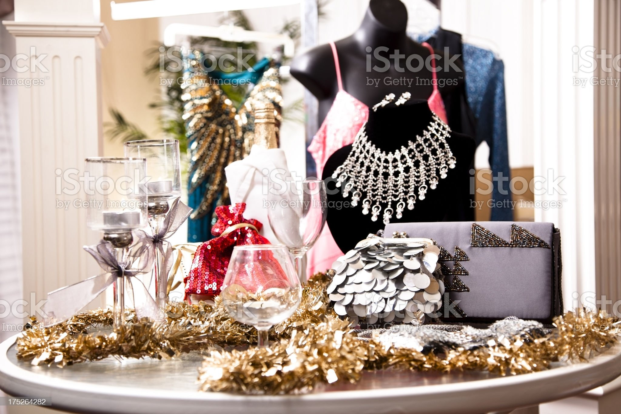 Ladies fashion in an evening wear window display royalty-free stock photo