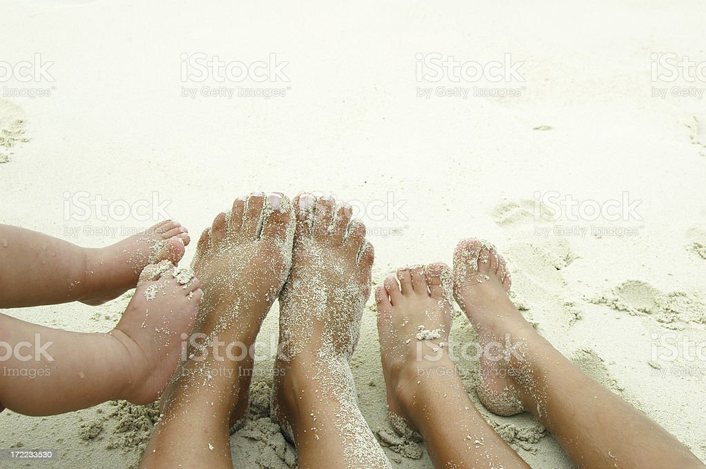 Ladies feet on the beach stock photo