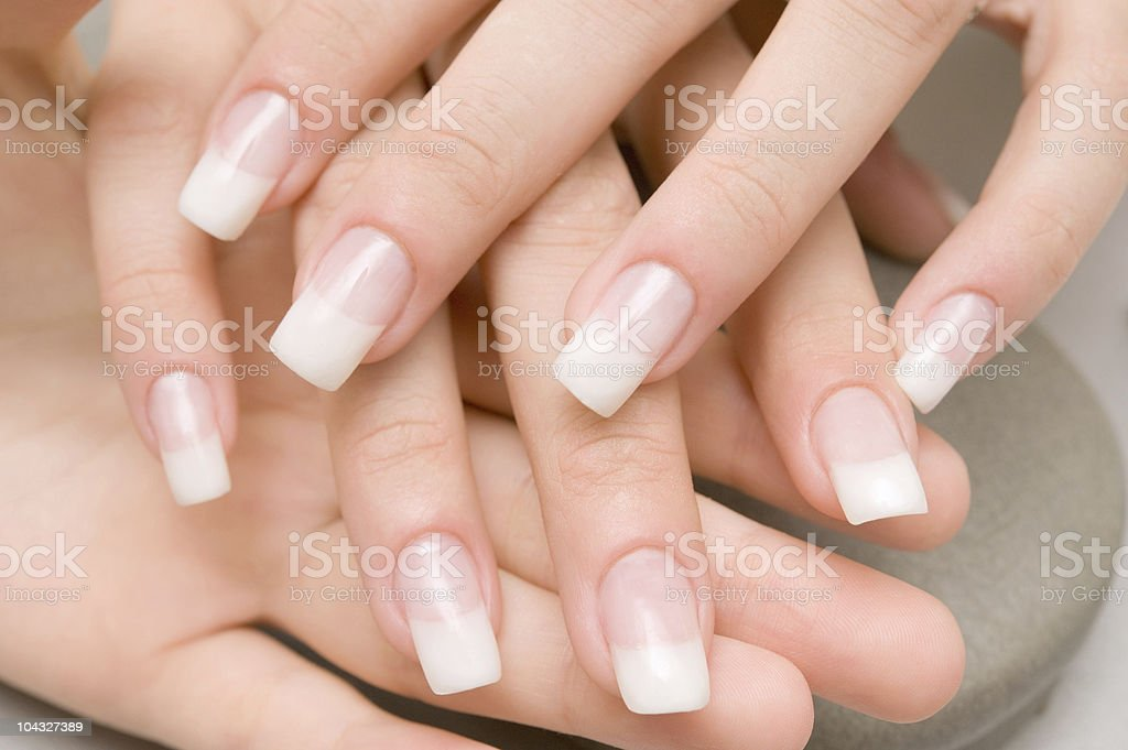 A ladies finger nails, after a manicure  royalty-free stock photo