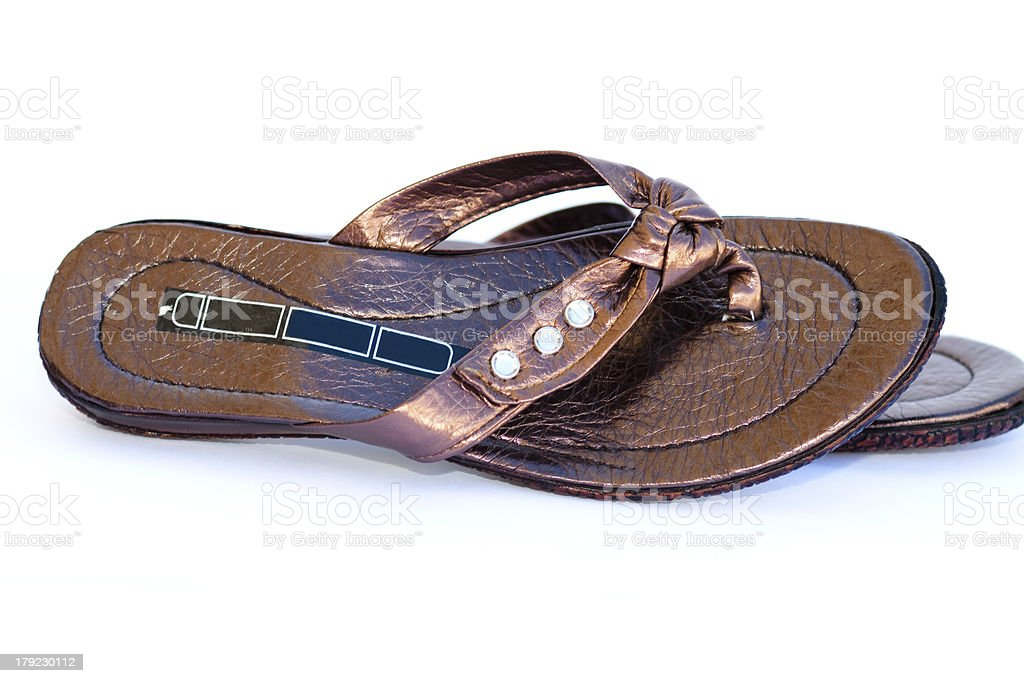 Ladies flip flop shoes royalty-free stock photo