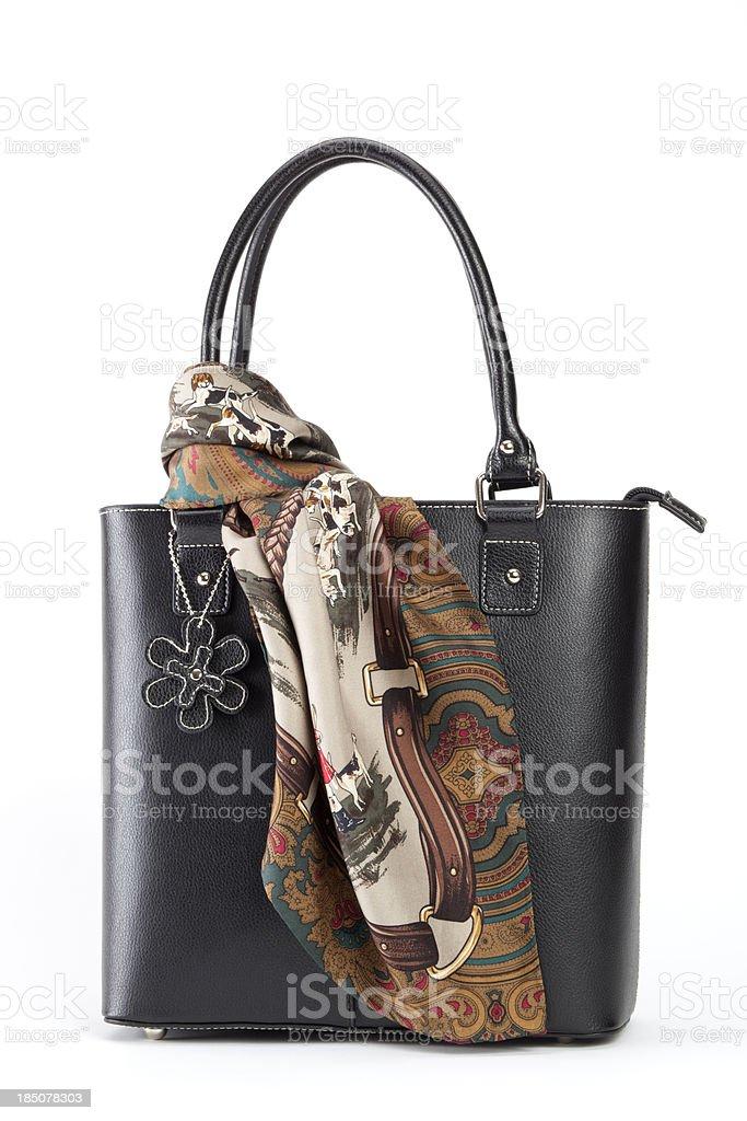 Ladies Handbag and Scarf stock photo