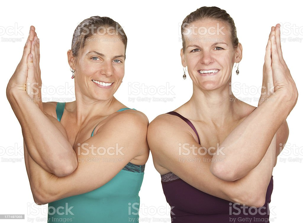 Ladies in Twisted Namaskar royalty-free stock photo