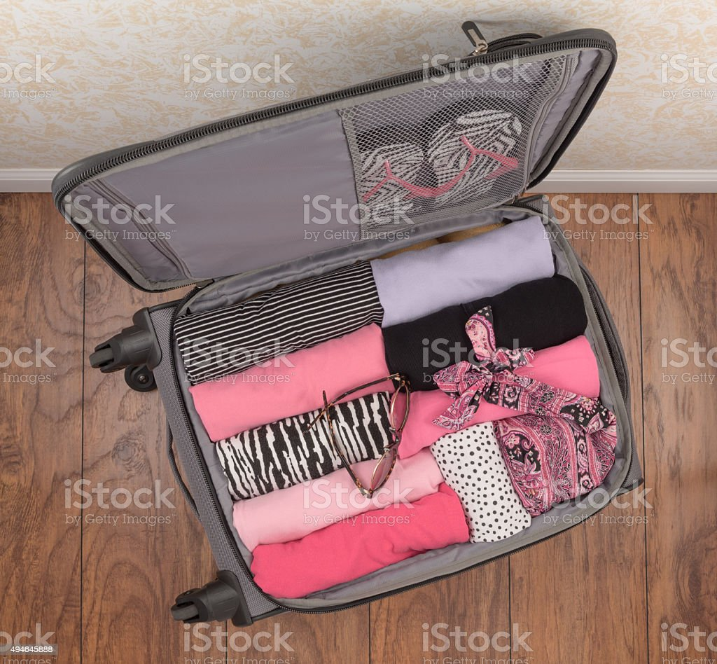 Ladies Packed Suitcase (Top Down) stock photo