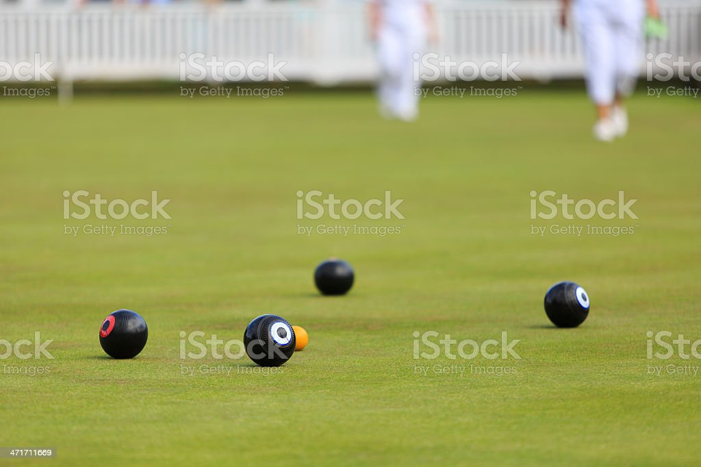 Ladies playing lawn bowls stock photo