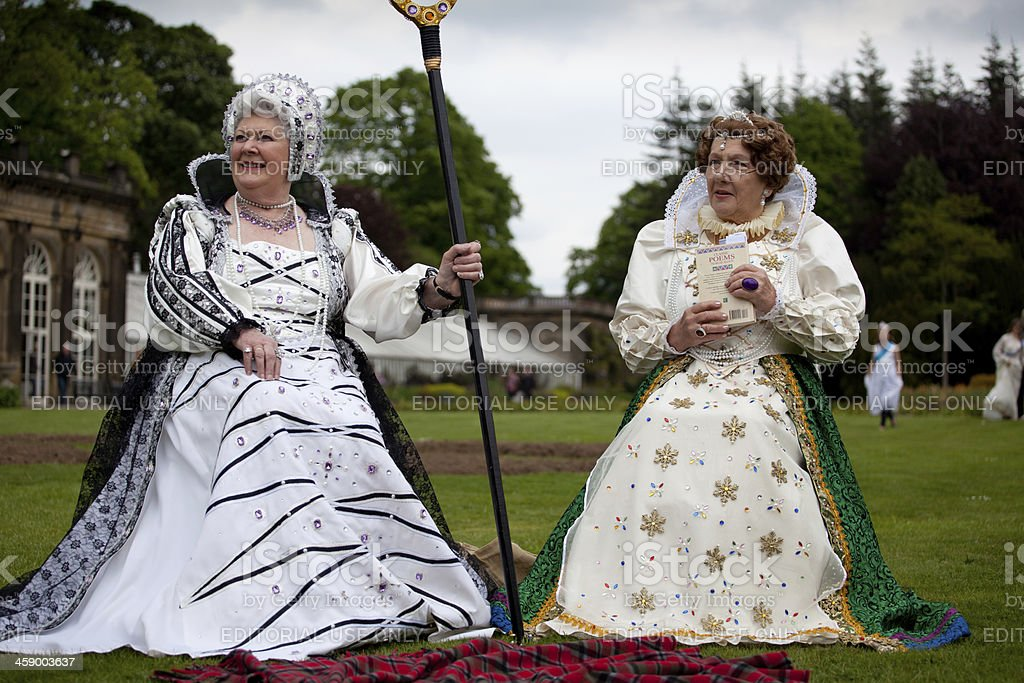 ladies role playing Queen Elizabeth 1 stock photo