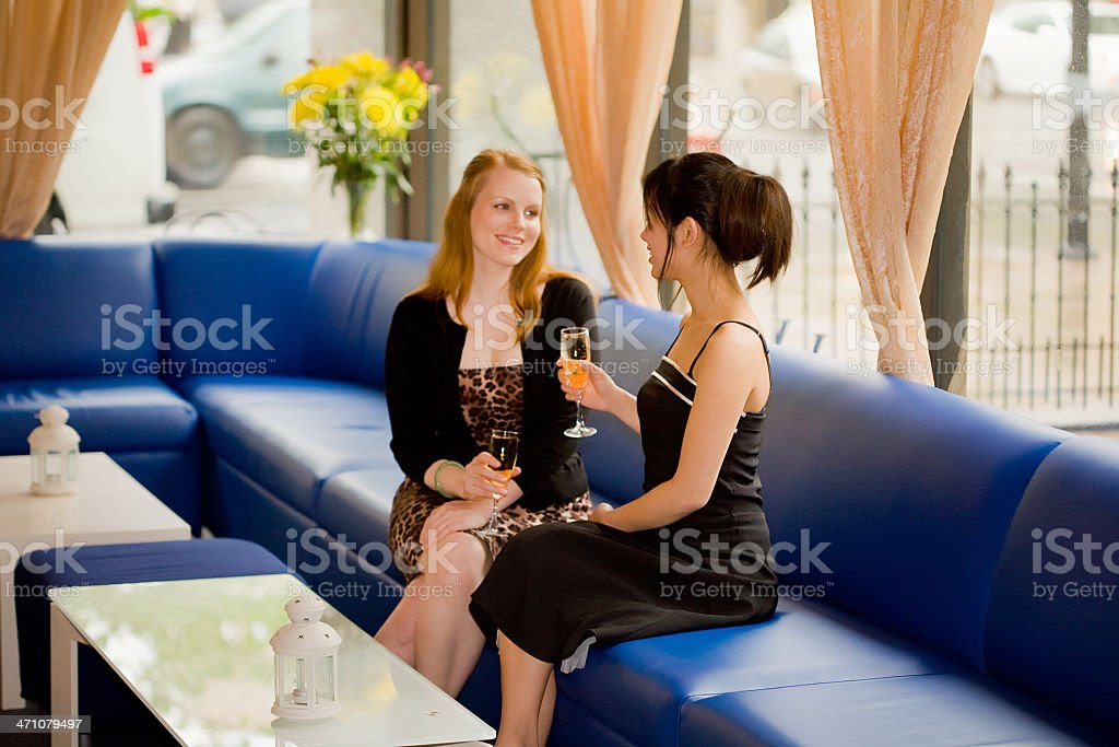 Ladies sit and chat stock photo