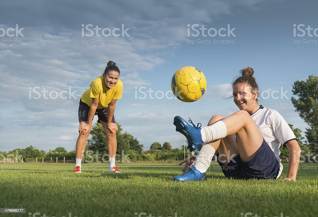 ladies soccer stock photo
