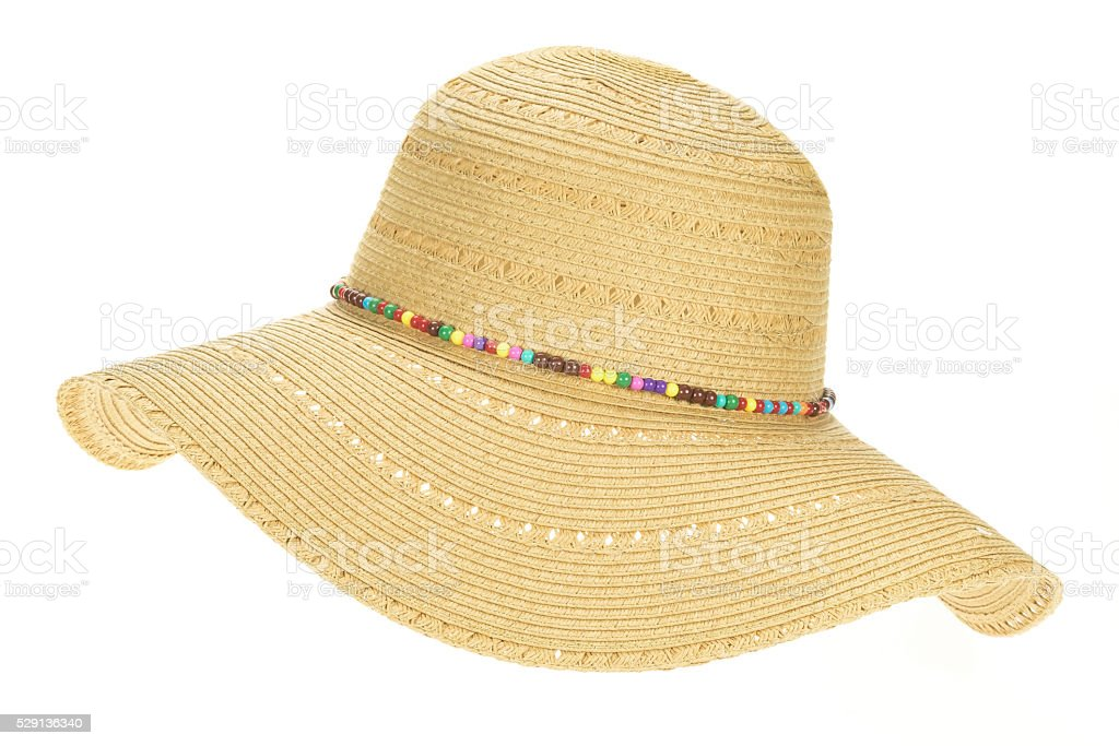 Ladies straw sunhat stock photo