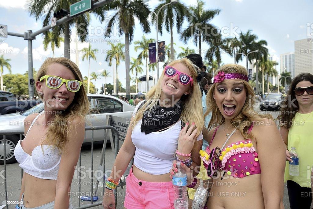 Ladies Walking to Ultra Miami stock photo