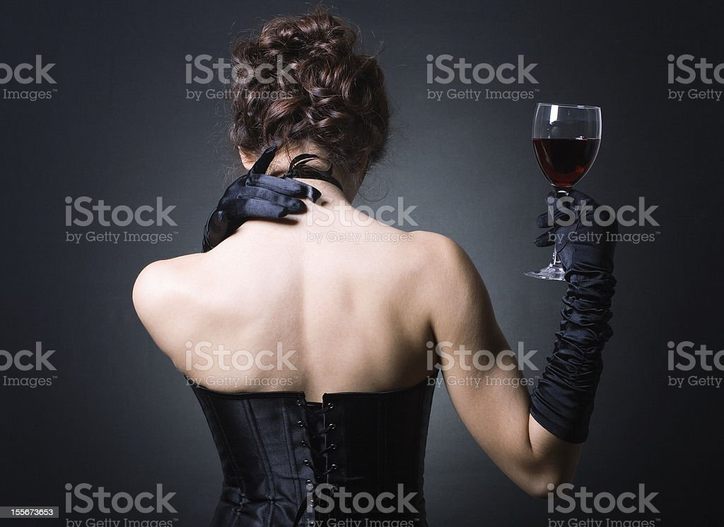 ladies with a glass of red wine. royalty-free stock photo