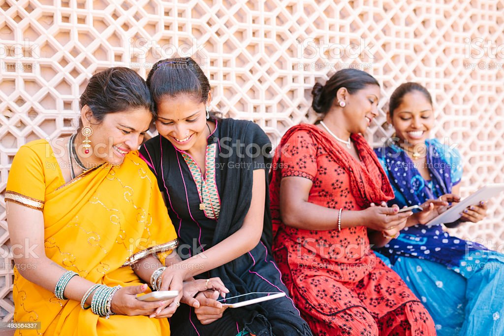 Ladies with tablet computers stock photo