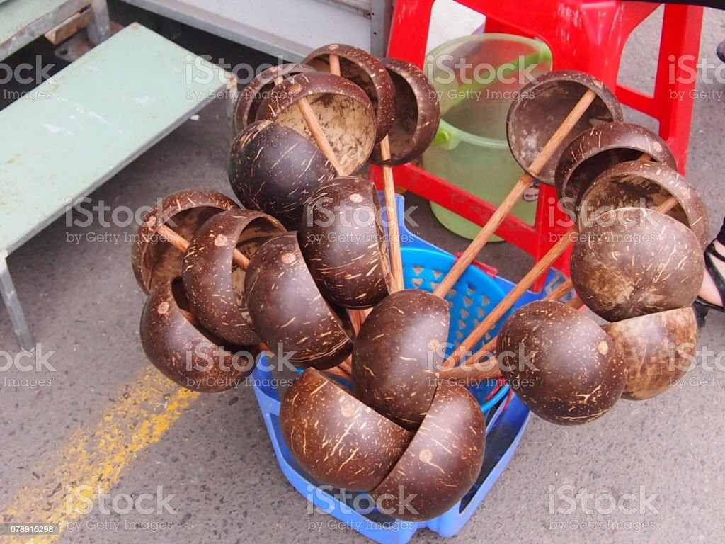 Ladle from a coco shell stock photo