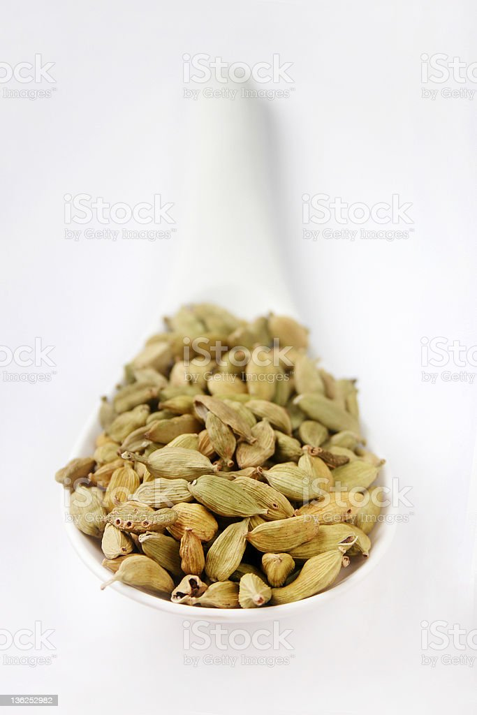 Ladle of Cardamom Pods royalty-free stock photo