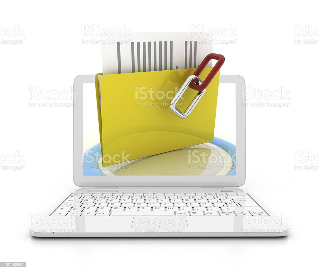 Ladtop with files royalty-free stock photo