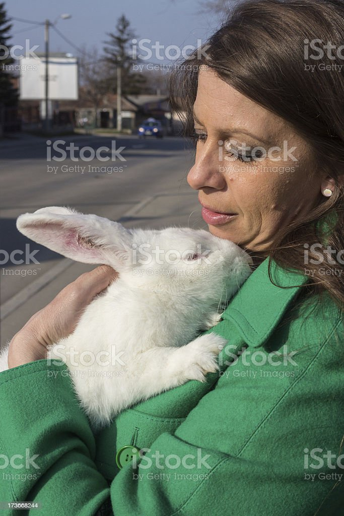 Lady and a Hare royalty-free stock photo