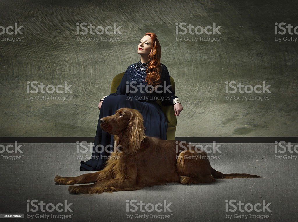 lady and dog fidelity concept stock photo