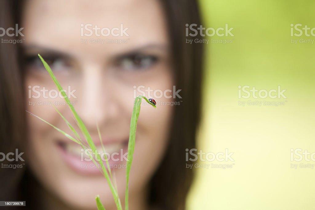 Lady and ladybug stock photo