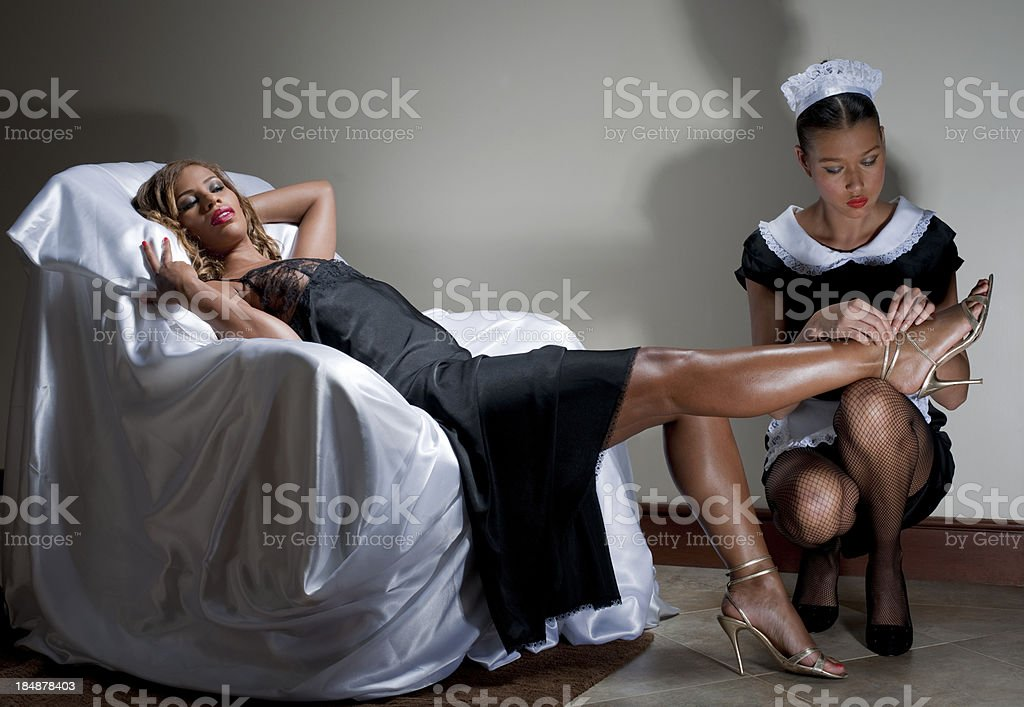 Lady and Maid stock photo
