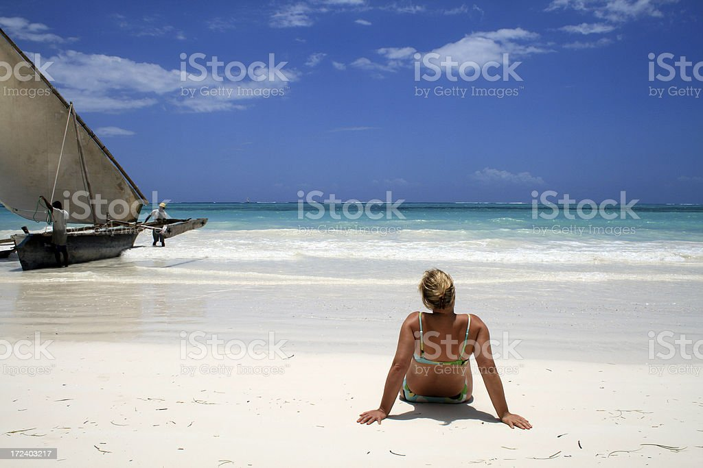 Lady and Sea royalty-free stock photo
