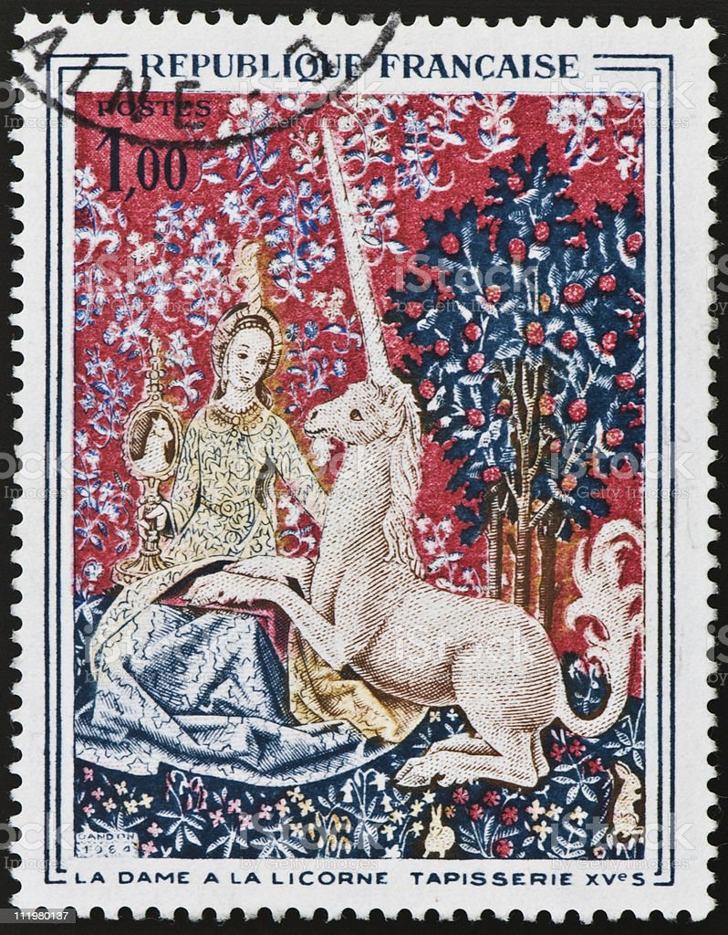 Lady and the Unicorn Postage Stamp royalty-free stock photo