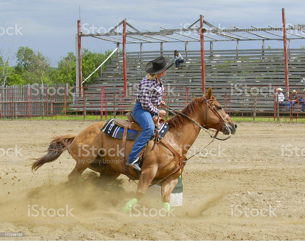 Lady Barrel Racer stock photo