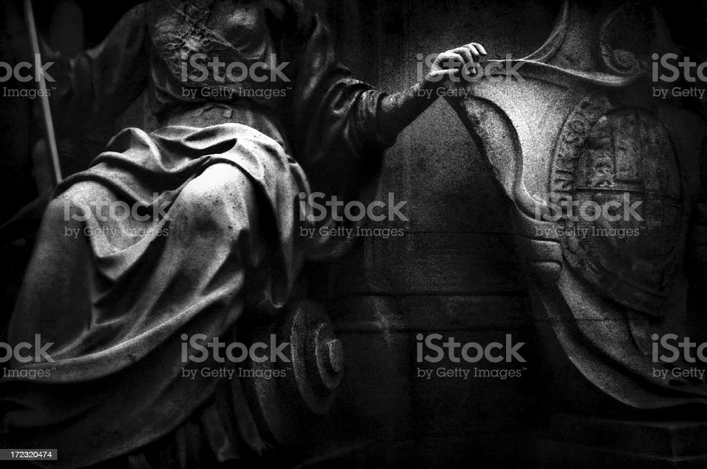 Lady Britannia at Queen Anne Statue in London stock photo