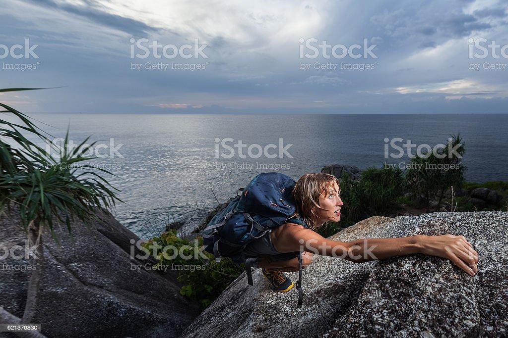 Lady climber stock photo