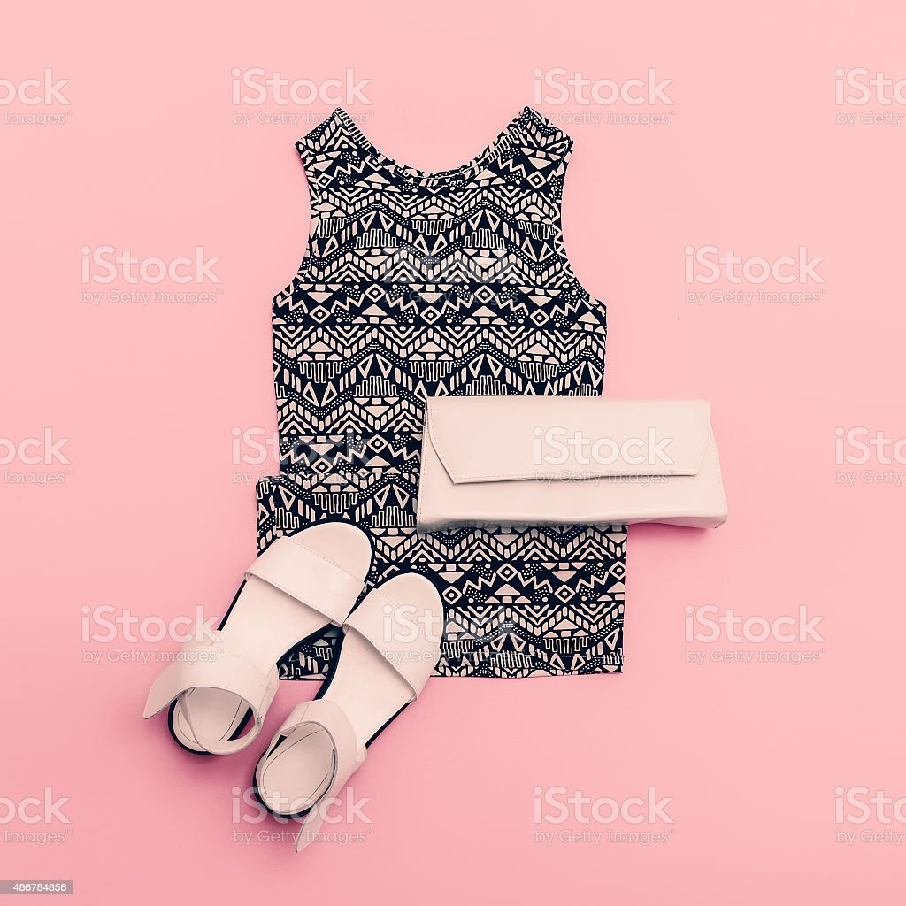 Lady clothing set. Dress and shoes. Trendy geometric prints. stock photo