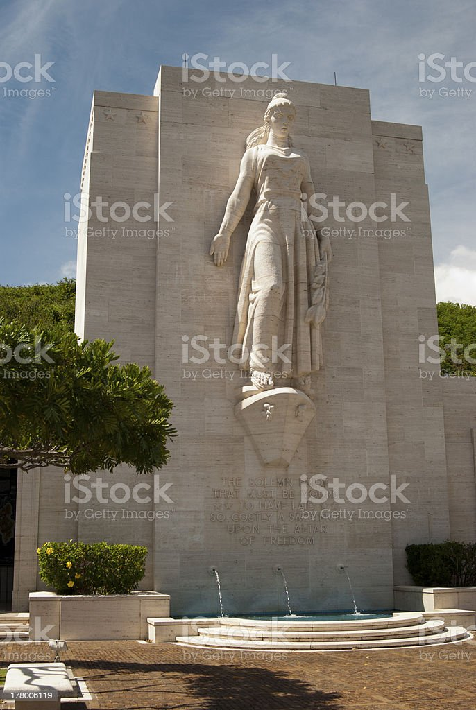 Lady Columbia a Punch Bowl Cemetery - Honolulu stock photo