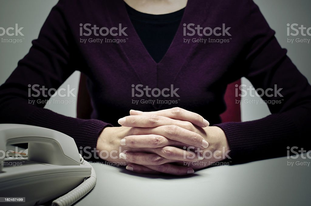 Lady Consultant with Hands Clasped royalty-free stock photo