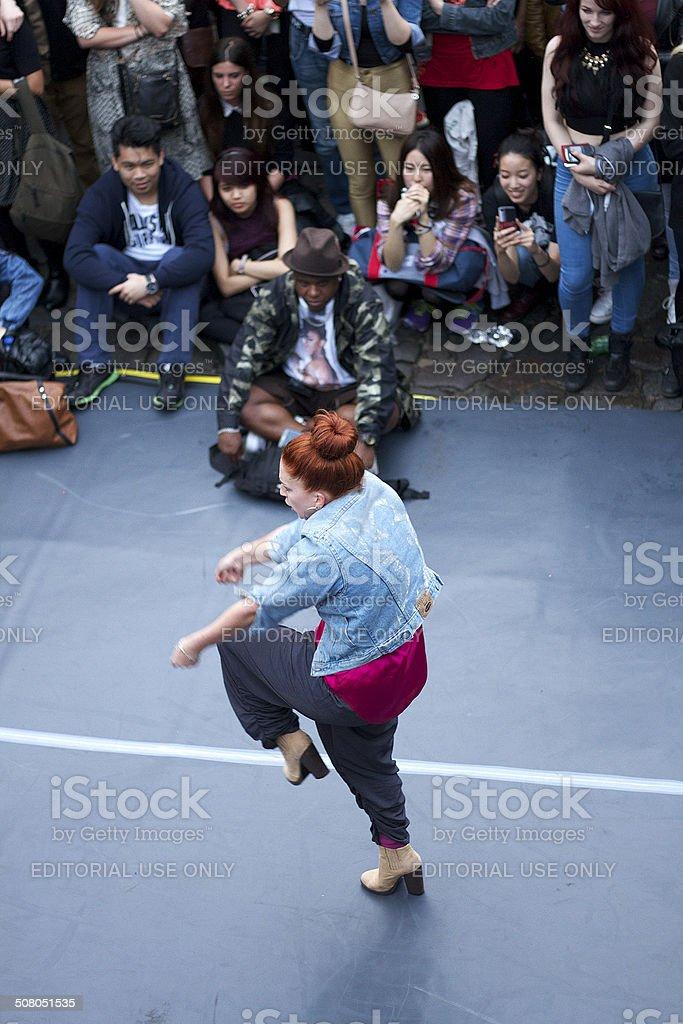 Lady Dancing in Camden London stock photo