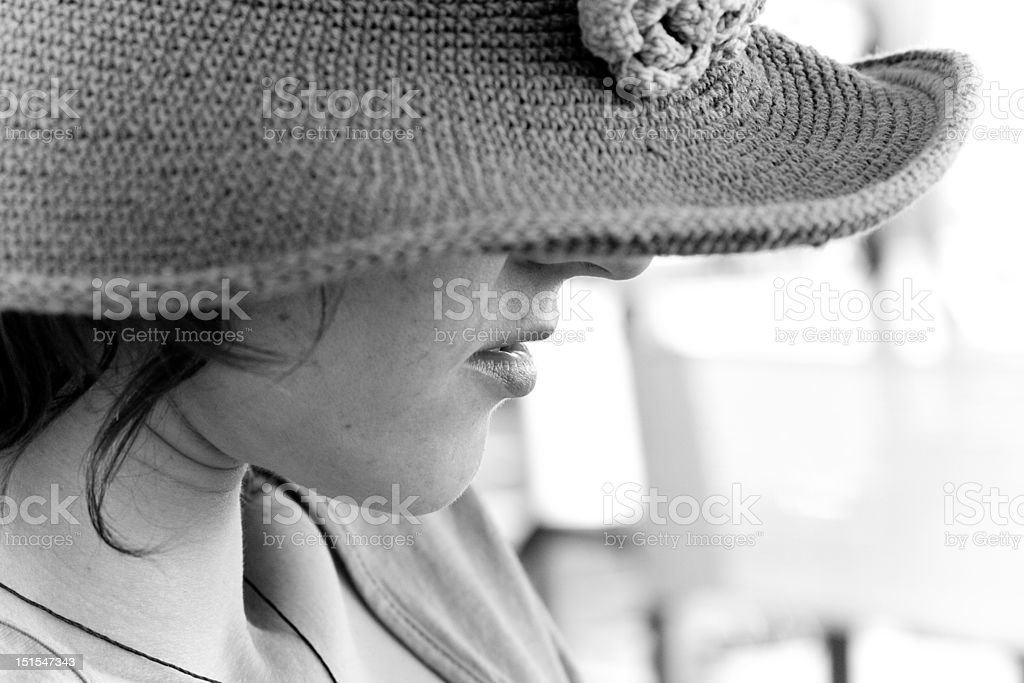 lady face under knitted hat royalty-free stock photo