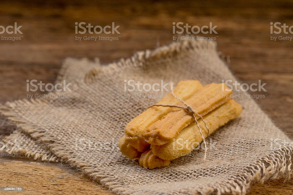Lady finger on a wooden table. stock photo