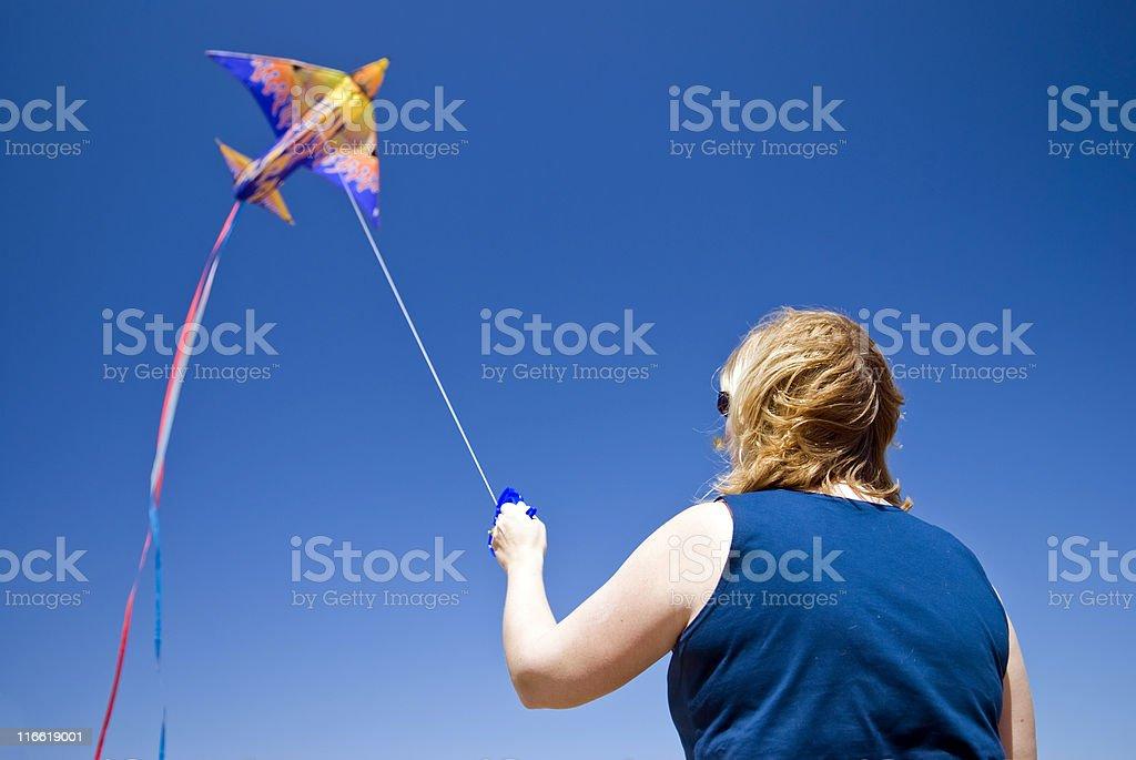 Lady Fliegender kite Lizenzfreies stock-foto