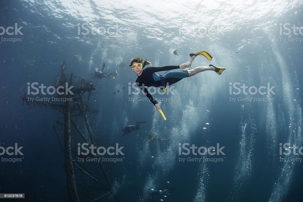 Lady freediver stock photo