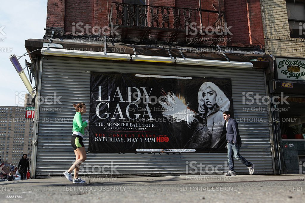 Lady Gaga advertising banner Lower East Side NYC royalty-free stock photo