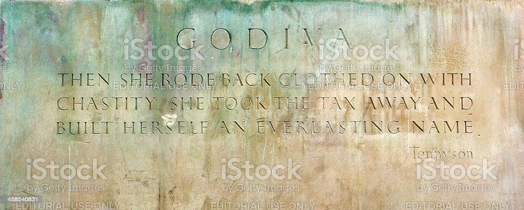 Lady Godiva Statue sign Coventry stock photo