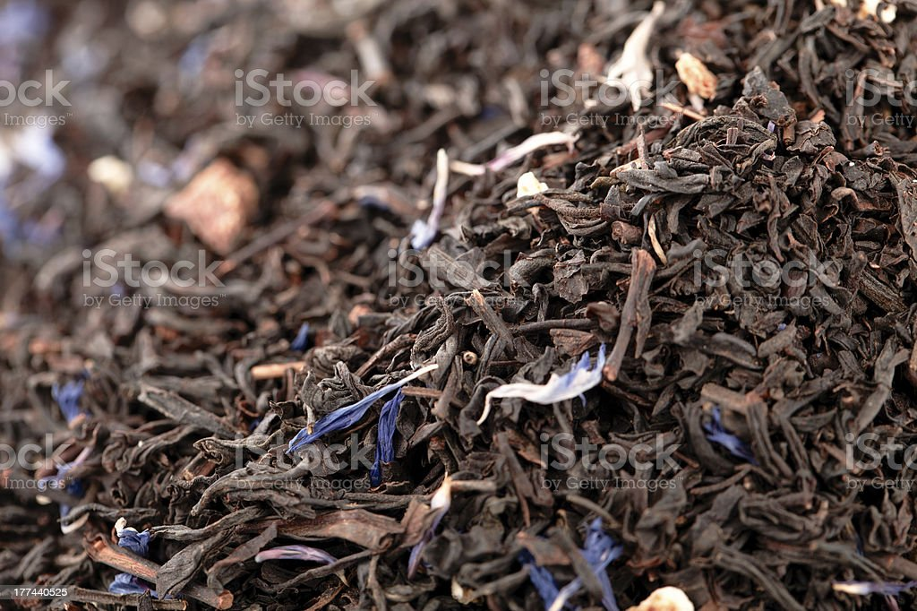 Lady Grey black loose tea leaves background, shallow dof stock photo