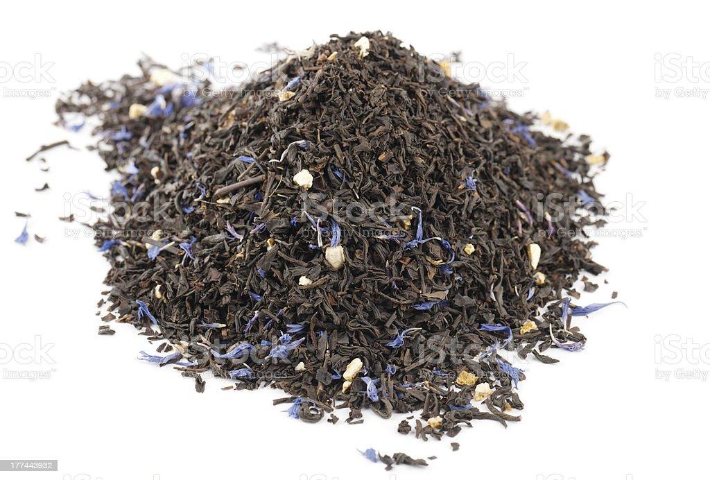 Lady Grey black loose tea leaves on white background stock photo