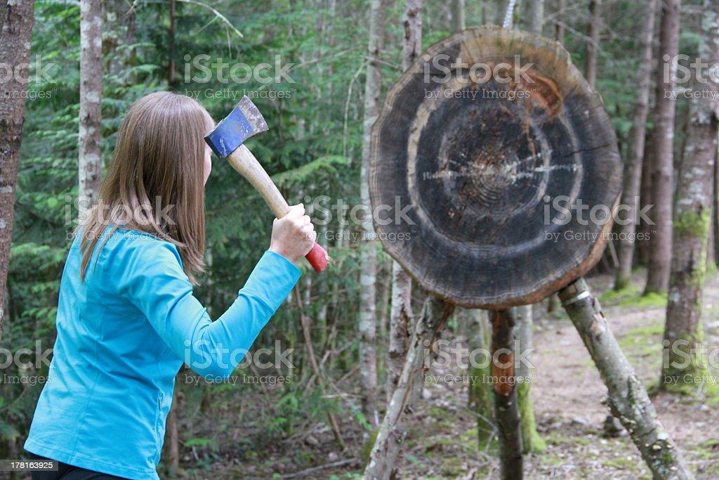 Lady Hatchet Thrower stock photo