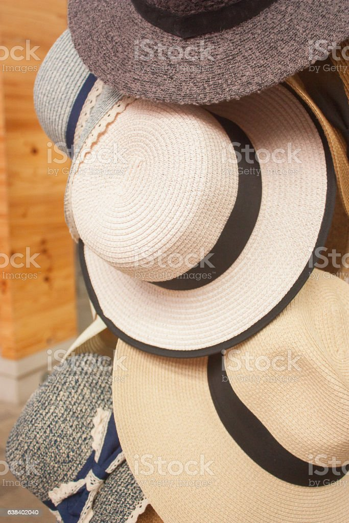 Lady Hats Hanging At Stand Stall Flea Market Store stock photo