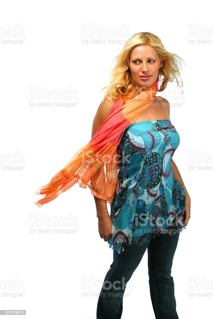 Lady in a wind royalty-free stock photo