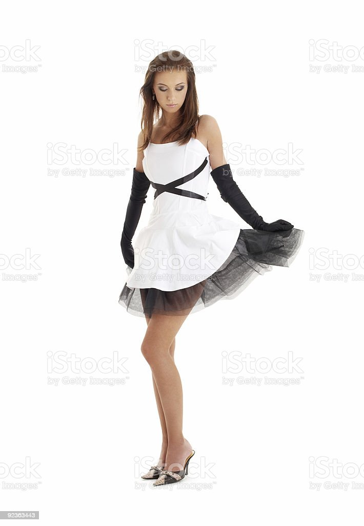 lady in black and white dress royalty-free stock photo