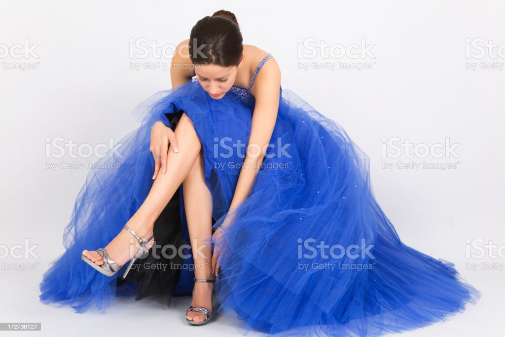 Lady in Blue Dress royalty-free stock photo