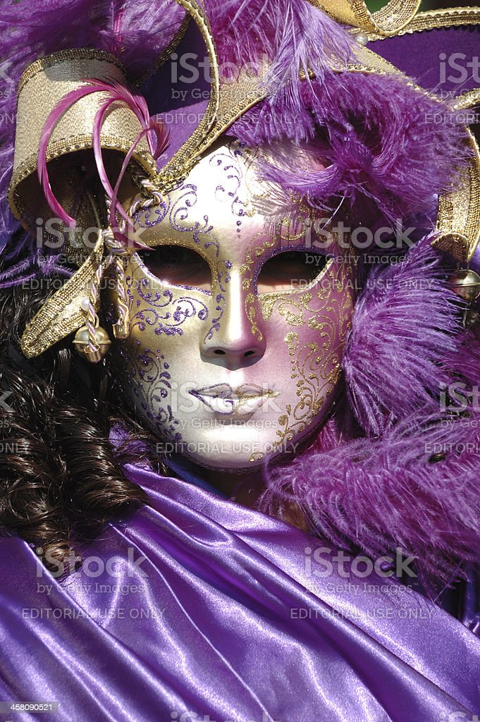 Lady in costume at St. Mark's Square,Venice carnival,2011 royalty-free stock photo