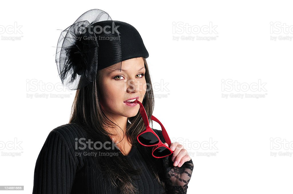 Lady In Fancy Black Hat and Red Sunglasses royalty-free stock photo