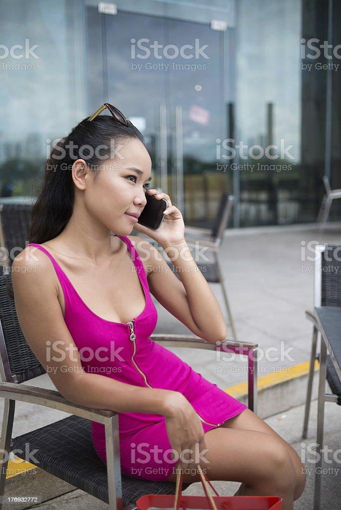 Lady in fuchsia royalty-free stock photo