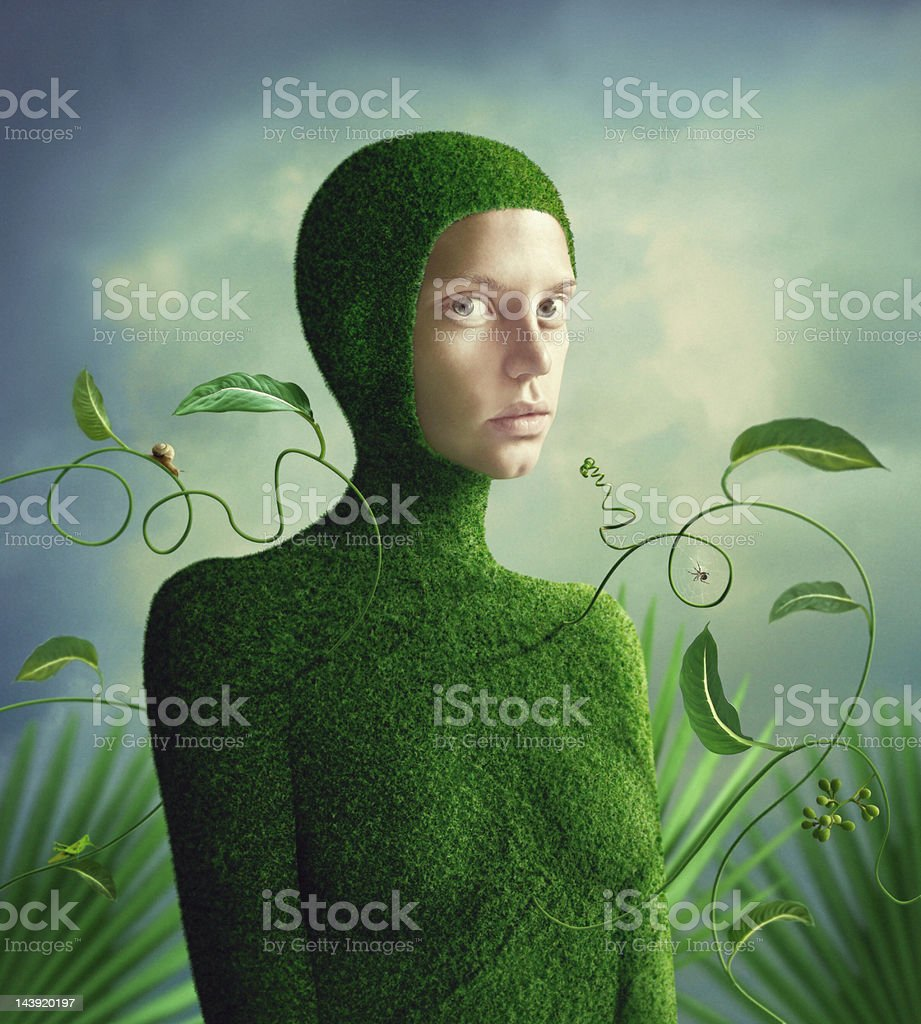 Lady in green moss one-piecer royalty-free stock photo