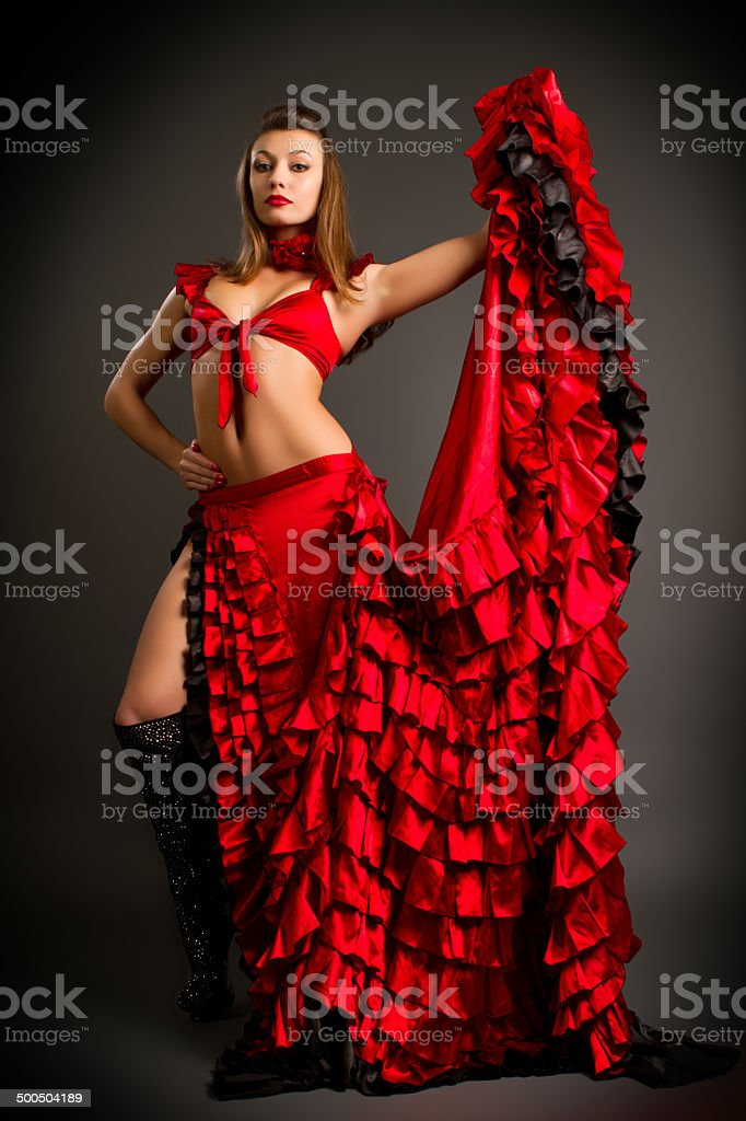 lady in gypsy costume dancing flamenco stock photo